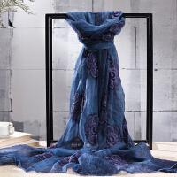 时尚女士桑蚕丝丝巾文艺褶皱绣花丝巾透气空气 长巾丝巾披肩 可礼品卡支付