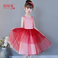 女孩生日晚礼服钢琴演出服儿童婚纱女童礼服红色公主裙短款连衣裙