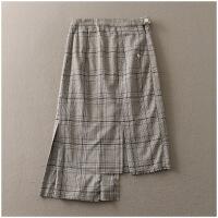 春季新品宽松中长裙包臀格子高腰半身裙女24553