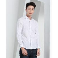 才子男装长袖衬衫白色修身休闲衬衣耐磨新款吸汗透气抗皱经典格子