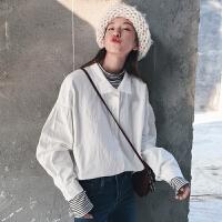 春秋女装新款韩版学院风泡泡袖宽松翻领长袖白色衬衫休闲衬衣上衣
