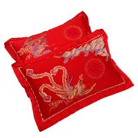 大红婚庆枕套结婚龙凤棉枕头套一对提花刺绣枕头套子婚庆床上用品 【龙凤喜】枕套2个