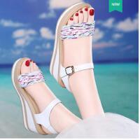 莱卡金顿新款韩版坡跟高跟鞋真皮厚底露趾单鞋女夏百搭女鞋凉鞋女夏季BN 1661