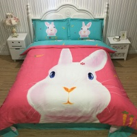 家纺全棉加厚磨毛卡通四件套纯棉冬季保暖被套儿童床上用品