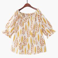 2018夏棉绸透气泡泡短袖印花娃娃衫清新度假沙滩一字领短袖衬衫女