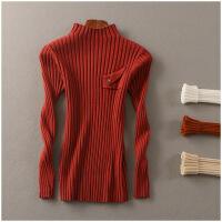 春季半高领打底衫纯色长袖弹力套头针织衫女24834