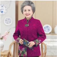 妈妈装春装毛呢外套中老年人春秋女装60-70岁衣服老人奶奶装秋装