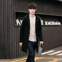 呢子大衣男中长款外套韩版男士风衣新款帅气毛呢外套男青年版 黑色 M