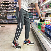 九分裤男士休闲裤夏款韩版时尚小码S码修身宽松小脚运动裤男裤子