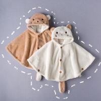彩棉城堡 童装羊羔绒婴儿披风儿童斗篷秋冬款加厚宝宝女童披肩外套