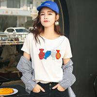 夏季新品韩版百搭宽松棉彩色小鱼刺绣短袖T恤女显瘦上衣潮