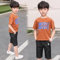 男童套装夏季新款儿童两件套夏装中大童圆领T恤五分裤休闲潮