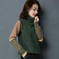 高领毛衣女套头宽松时尚短款针织衫秋冬装韩版加厚百搭打底衫上衣