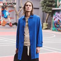 viishow春装新款风衣 欧美街头时尚风衣男中长款 工装外套蓝