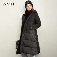 【折后价:609元】Amii极简港风加厚连帽长款羽绒服女2019冬季新款拉链开衩80绒外套