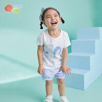 【直降价:59.3】贝贝怡童装女童夏装2021宝宝纯棉短袖套装婴儿衣服