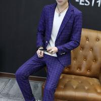 西服套装男士春秋修身套休闲韩版青年帅气潮流小西装男士外套