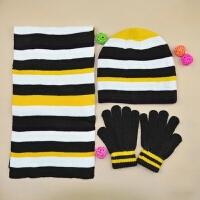 秋冬男童帽子围巾手套 儿童中童大童针织条纹帽子围巾手套三件套