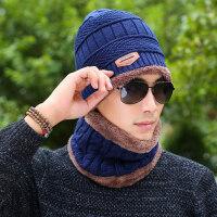 冬天帽子男士毛线帽围巾加绒加厚户外保暖套头套装护脖针织脖套男