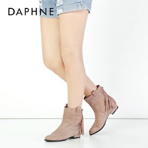 达芙妮集团鞋柜VIVI冬季时尚舒适低跟女靴甜美流苏短筒方...-1