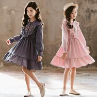 女童春装连衣裙刺绣中大童时尚公主裙亲子装裙子