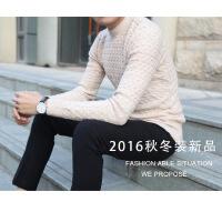 复古伦仕 冬装韩版男士圆领毛衣修身版打底衫男式毛衫针织衫