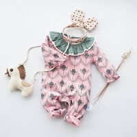 婴儿连体衣纯棉女宝宝春秋新生儿0-1岁3个月满月8潮款翻领连体衣