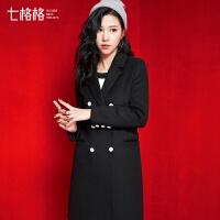 七格格冬新款 西装领中长款49%羊毛呢大衣外套女CX557