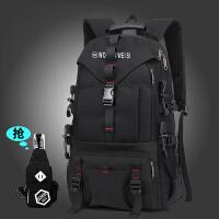 男双肩包潮运动户外防水登山包大容量休闲旅游旅行包背包 黑色送胸包