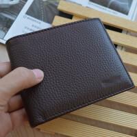 新款韩版钱包女士短款真皮迷你小钱包牛皮折叠超薄学生零钱包 _咖啡色 横款