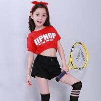 儿童爵士舞演出服女孩嘻哈街舞现代舞蹈服套装短袖夏