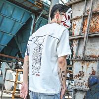 男士圆领短袖T恤潮流日系宽松半袖青少年印花撞色上衣服