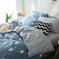 喷气式全棉舒适肤四件套简约纯棉床单被套1.5/1.8m印花床品套件