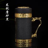 【品牌热卖】紫砂保温杯大容量500男女茶杯车载陶瓷内胆礼品杯 龙马烤漆办公杯黑色
