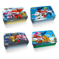 超级飞侠铁盒 怪物危机 秘境大冒险 派对竞赛 小小列车长 共4盒 4本故事书+24块拼插板