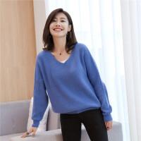秋冬羊绒衫女套头大码 羊绒衫纯色短款宽松韩版V领毛衣针织衫显瘦
