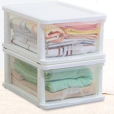 Yeya也雅 塑料透明2层收纳柜 塑料储物柜抽屉式收纳箱儿童宝宝玩具衣柜