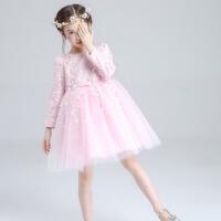 童装蓬蓬裙女孩生日 花童礼服公主裙儿童连衣裙女童婚纱蓝色 粉色长袖 皇冠