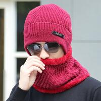 帽子男士冬季户外毛线帽韩版潮围脖针织帽加厚脖套包头帽套头帽冬 均码有弹力