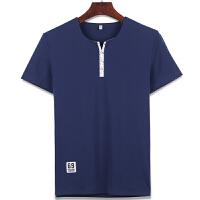 男士休闲短袖T恤 男拼接纯色开领T恤打底衫