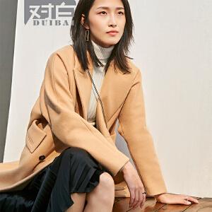 对白驼色毛呢外套女中长款韩版新款休闲翻领直筒呢大衣