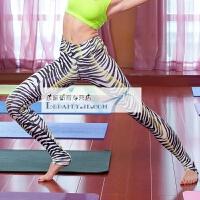 紧身瑜伽裤女 休闲运动跑步裤 瑜伽服 健身印花 弹力显瘦踩脚长裤