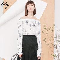 【25折到手价:124.75元】 Lily春新款女装一字领印花套头衫宽松系带雪纺衫118130C8212