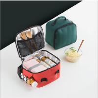 手提饭盒包铝箔保温包PU皮质手提铝箔便当袋防水保冷保温袋