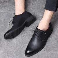 夏季男士皮鞋男真皮黑色尖头正装商务休闲英伦韩版青年新郎婚礼鞋 内增高