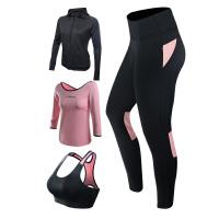 瑜伽服女秋冬三件套显瘦宽松七分袖健身运动跑步裤瑜伽套装