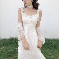 夏季新款波点显瘦连衣裙波西米亚木耳边吊带裙+中长款防晒服套装