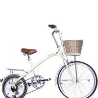 女式休闲复古前24寸后16成人折叠自行车公路车变速单车公主车钓鱼车