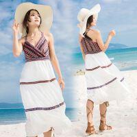 18春夏民族风吊带连衣裙女夏新款性感显瘦雪纺长裙沙滩裙子海边