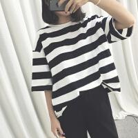韩观2018新韩版上衣服女夏装半截短袖中学生中袖T恤��宽松百搭学院风 均码